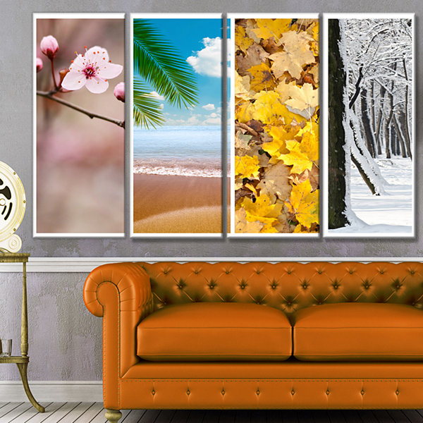 Designart Four Seasons World Collage Landscape Canvas Art Print - 4 Panels