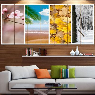 Design Art Four Seasons World Collage Landscape Large Canvas Art Print - 5 Panels