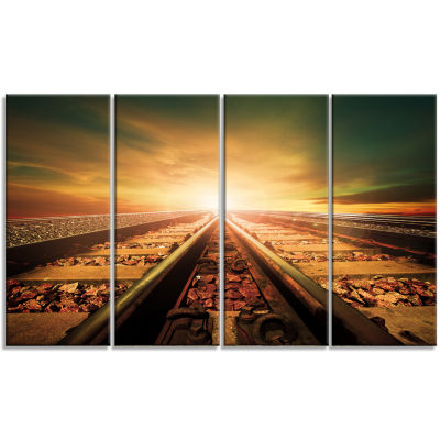 Junction Of Railways Track Landscape Canvas Art Print - 4 Panels