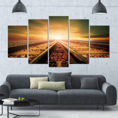 Designart Junction Of Railways Track Landscape Canvas Art Print - 5 Panels