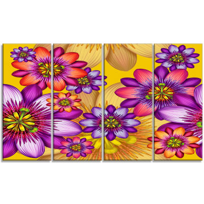 Passion Flowers Pattern Floral Canvas Art Print -4 Panels