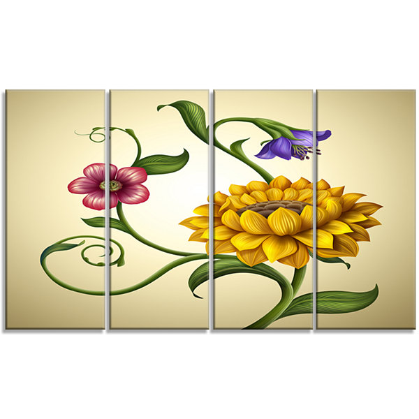 Designart Flowers And Leaves Illustration FloralCanvas Art Print - 4 Panels