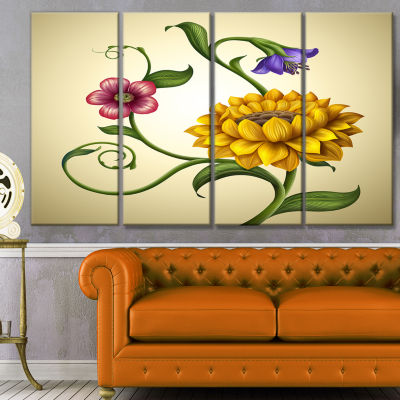 Flowers And Leaves Illustration Floral Canvas ArtPrint - 4 Panels