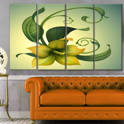Designart Yellow Fantasy Flower Floral Canvas ArtPrint - 4Panels
