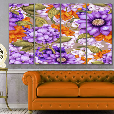 Designart Floral Seamless Pattern Floral Canvas Art Print -4 Panels