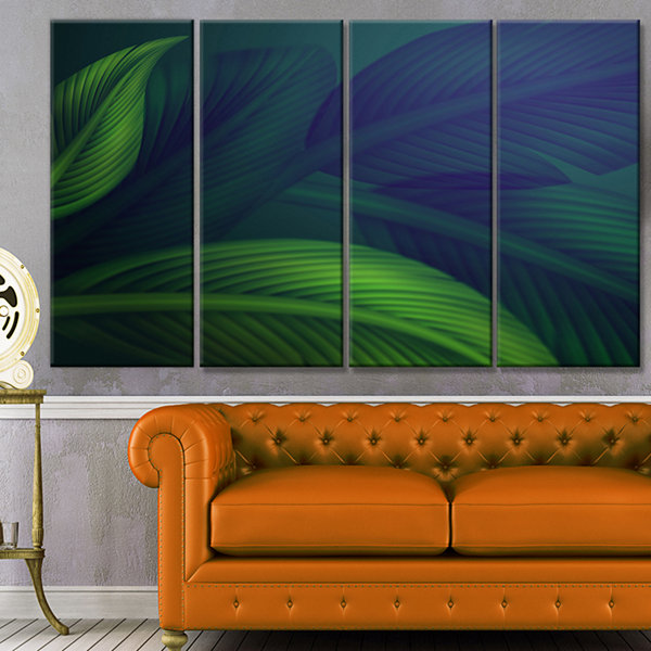 Design Art Tropic Jungle Leaves Background FloralCanvas Art Print - 4 Panels