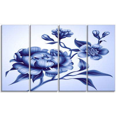 Designart Blue Peony Rose And Sakura Flowers Floral Canvas Art Print - 4 Panels