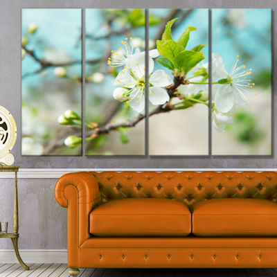 Designart Beautiful Cherry Blossom N Spring FloralCanvas Art Print - 4 Panels