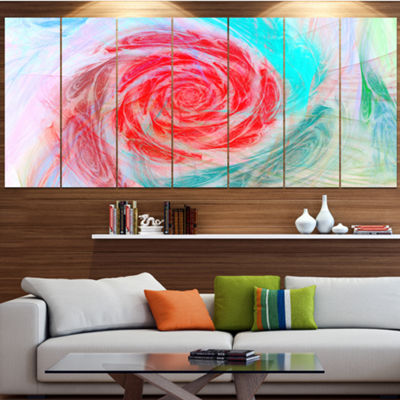 Designart Mysterious Abstract Rose Floral CanvasArt Print -4 Panels