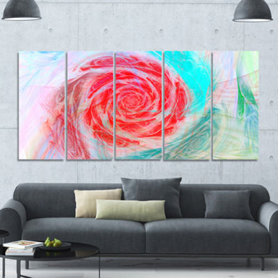Designart Mysterious Abstract Rose Floral CanvasArt Print -5 Panels