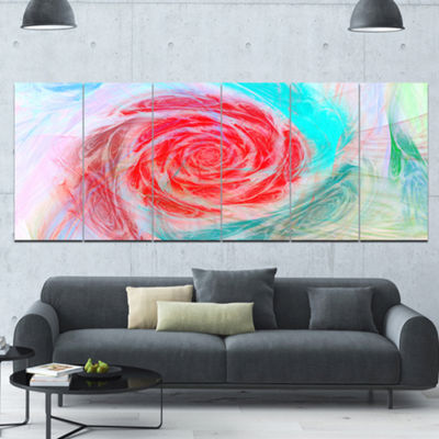 Designart Mysterious Abstract Rose Floral CanvasArt Print -6 Panels