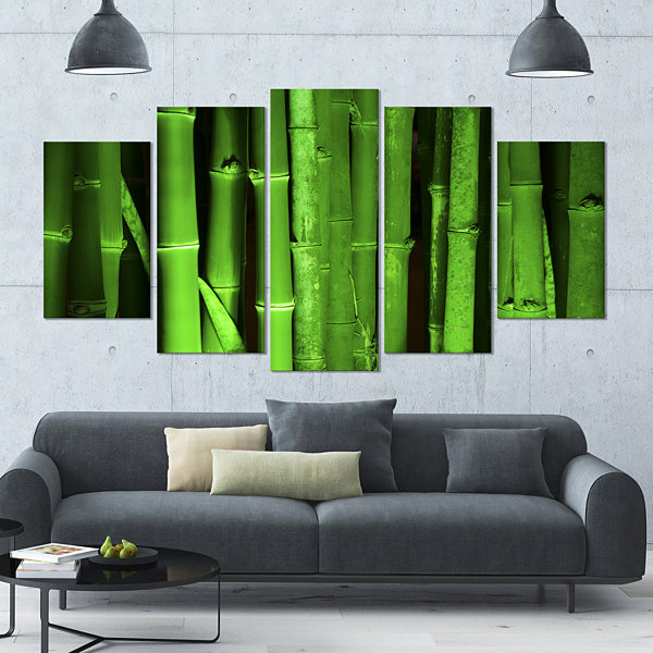 Designart Green Bamboo Forest Large Floral CanvasArt Print- 5 Panels
