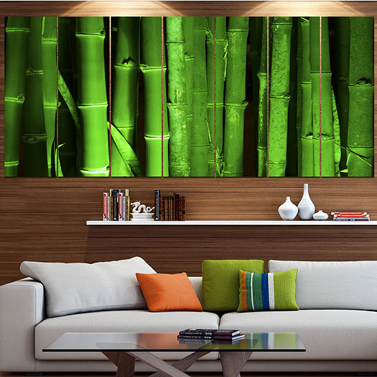 Designart Green Bamboo Forest Floral Canvas Art Print 5 Panels