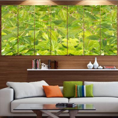Designart Bright Fuchsia Green Foliage Floral Canvas Art Print - 7 Panels