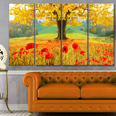 Designart Beautiful Autumn Yellow Tree Floral Canvas Art Print - 4 Panels