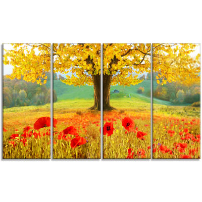 Beautiful Autumn Yellow Tree Floral Canvas Art Print - 4 Panels
