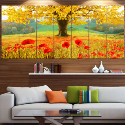 Designart Beautiful Autumn Yellow Tree Floral Canvas Art Print - 6 Panels