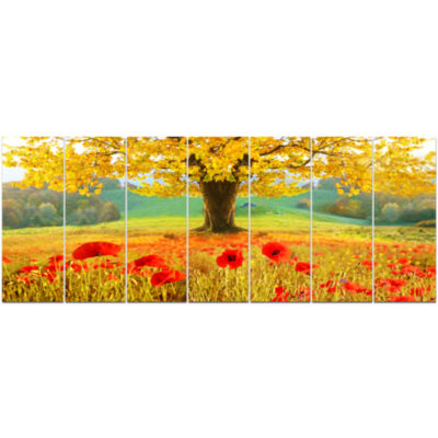 Beautiful Autumn Yellow Tree Floral Canvas Art Print - 7 Panels