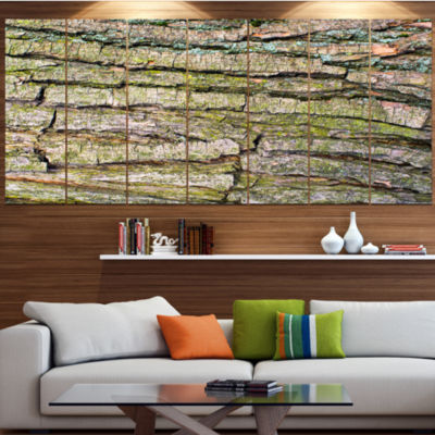 Thick Tree Skin Close Up Floral Canvas Art Print -5 Panels