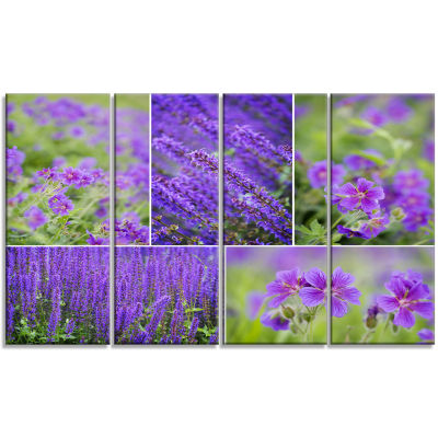 Blue Spring Flowers Collage Floral Canvas Art Print - 4 Panels