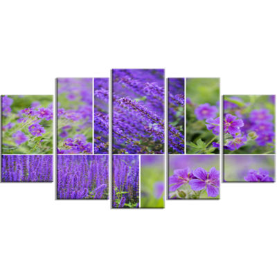 Designart Blue Spring Flowers Collage Floral LargeCanvas Art Print - 5 Panels