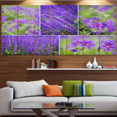 Blue Spring Flowers Collage Floral Canvas Art Print - 5 Panels