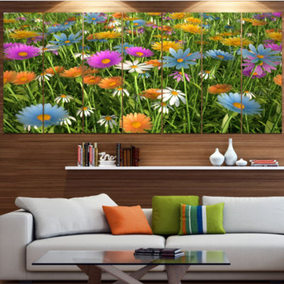 Different Color Flowers In Field Floral Canvas ArtPrint - 4 Panels