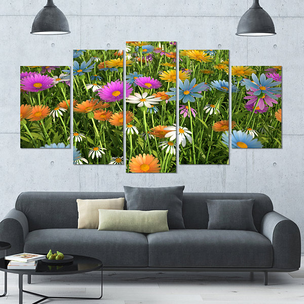 Designart Different Color Flowers In Field FloralLarge Canvas Art Print - 5 Panels