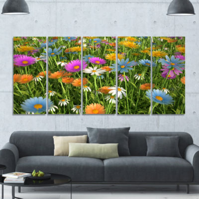 Different Color Flowers In Field Floral Canvas ArtPrint - 5 Panels