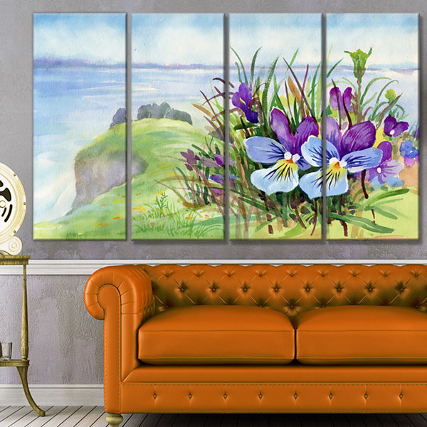 Designart Spring Violet Flowers On Mountain FloralCanvas Art Print - 4 Panels