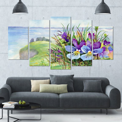 Designart Spring Violet Flowers On Mountain FloralLarge Canvas Art Print - 5 Panels
