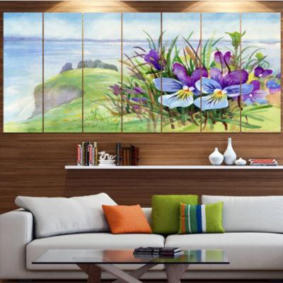 Designart Spring Violet Flowers On Mountain FloralCanvas Art Print - 5 Panels