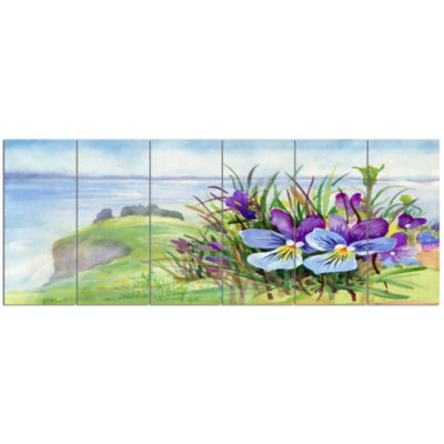 Spring Violet Flowers On Mountain Floral Canvas Art Print - 6 Panels