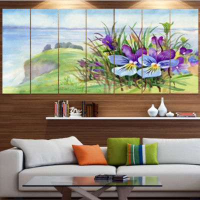 Spring Violet Flowers On Mountain Floral Canvas Art Print - 7 Panels