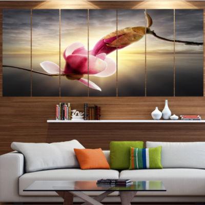 Designart Beautiful Magnolia Flowers Floral CanvasArt Print- 4 Panels