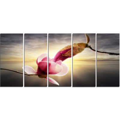 Designart Beautiful Magnolia Flowers Floral CanvasArt Print- 5 Panels