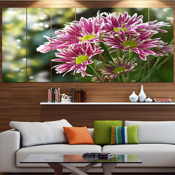 Designart Purple Chrysanthemum Flower Floral Canvas Art Print - 4 Panels