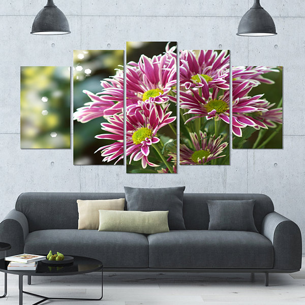 Designart Purple Chrysanthemum Flower Floral LargeCanvas Art Print - 5 Panels
