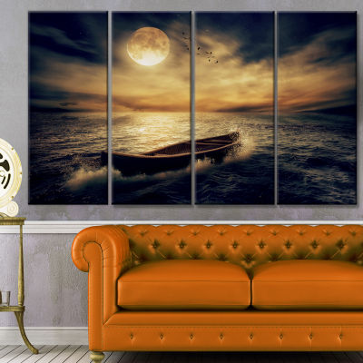 Middle Of Ocean After Storm Floral Canvas Art Print - 4 Panels