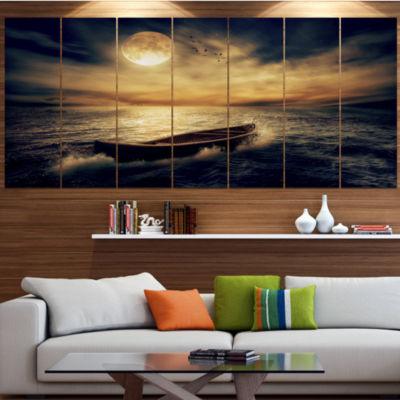 Designart Middle Of Ocean After Storm Floral Canvas Art Print - 5 Panels
