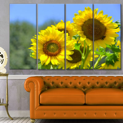 Beautiful Sunflowers View Floral Canvas Art Print- 4 Panels