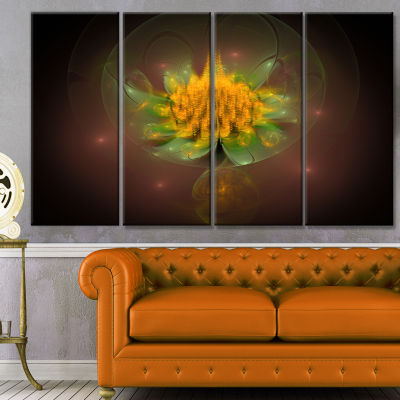 Fractal Yellow Flower On Black Floral Canvas Art Print - 4 Panels