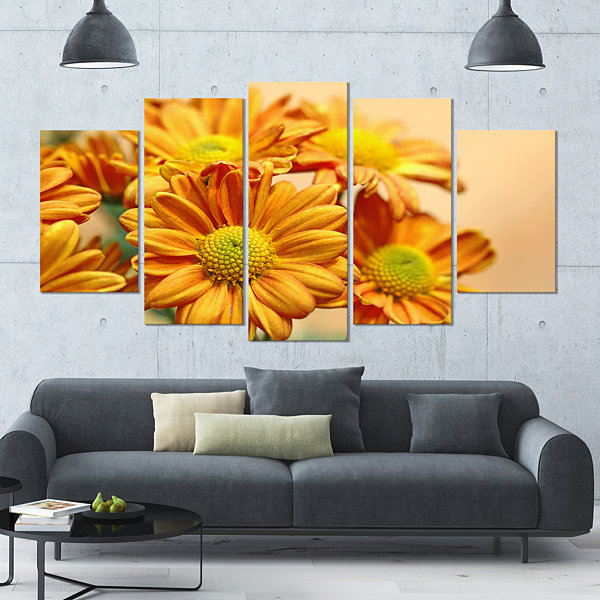 Designart Yellow Flowers In The Garden Large Floral Canvas Art Print - 5 Panels
