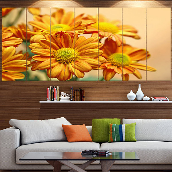 Design Art Yellow Flowers In The Garden Floral Canvas Art Print - 6 Panels