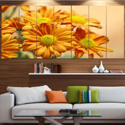 Yellow Flowers In The Garden Floral Canvas Art Print - 7 Panels