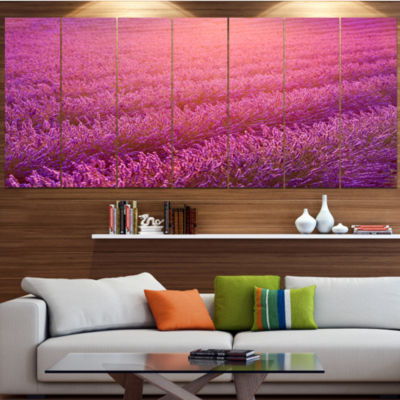 Design Art Lavender Field And Ray Of Light FloralCanvas Art Print - 4 Panels