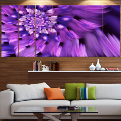 Designart Blue Flower Shaped Fractal Art Large Floral Canvas Art Print - 5 Panels