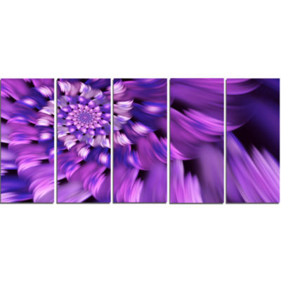 Blue Flower Shaped Fractal Art Floral Canvas Art Print - 5 Panels