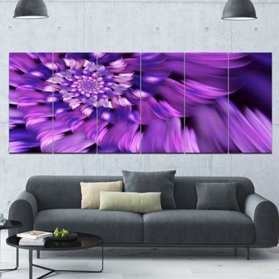 Designart Blue Flower Shaped Fractal Art Floral Canvas Art Print - 6 Panels