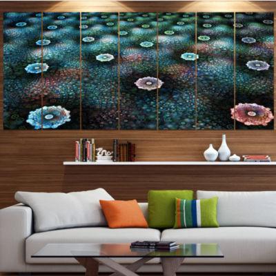 Designart Blue Flowers On Alien Planet Floral Canvas Art Print - 4 Panels